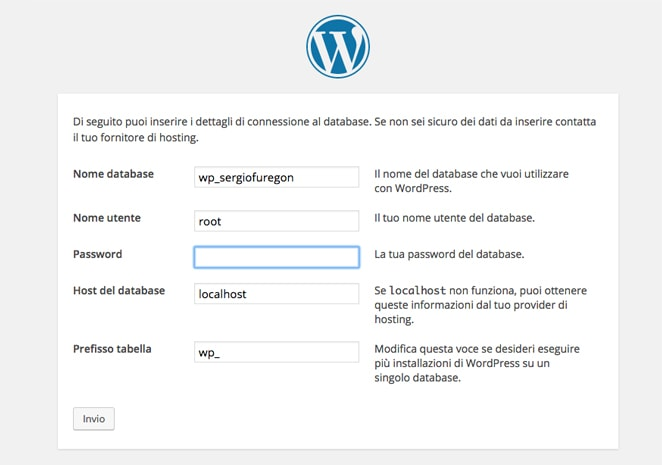 pagina connessione database wordpress